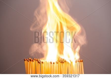 Stay At Home, Stop Coronavirus Epidemic, Keep Social Distance In Curfew. Concept: Matchstick Domino