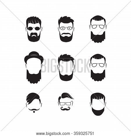 Set Of Bearded Men Silhouette Faces Hipster Style With Different Haircuts. Long Beard With Facial Ha