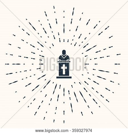 Grey Church Pastor Preaching Icon Isolated On Beige Background. Abstract Circle Random Dots. Vector