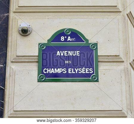 Paris, France. August 15, 2019. Avenue Des Champs-elysees Street Sign Close-up.