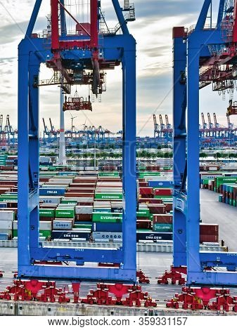 Hamburg, Germany - August 4, 2018: Containers In The Terminal Steinwerder Of The Port Of Hamburg.