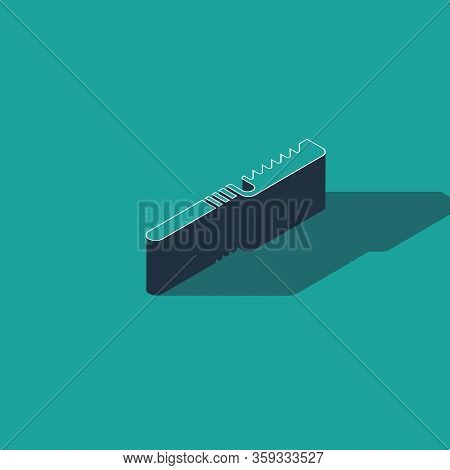 Isometric Medical Saw Icon Isolated On Green Background. Surgical Saw Designed For Bone Cutting Limb