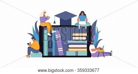 E-learning Education Concept Flat Vector Illustration. People Accessing Knowledge And Online Library
