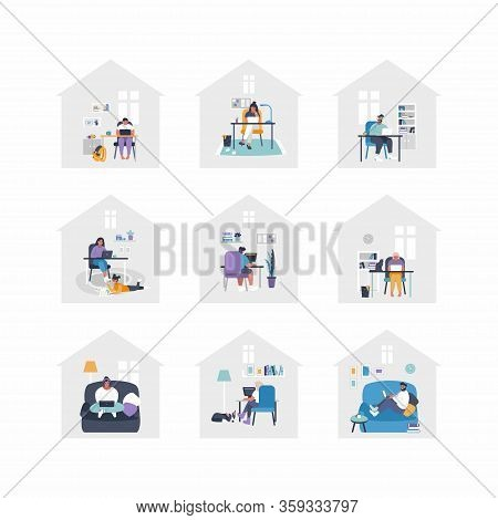 Set Of Flat Vector Illustrations - People Are Working From Home With Laptops, Pc At Table, At Sofa.