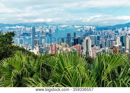 Hong Kong, China - January 12, 2016: Victoria Harbour Veiwed From Victoria Peak In Hong Kong City. H