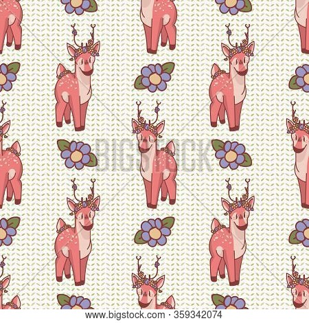 Cute Cartoon Deer With Flower Seamless Pattern. Kawaii Girly Doe Animal Flat Color Background. Child
