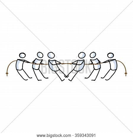 Hand Drawn Stick Figures Playing Tug Of War Vector Illustration. Competitive Effort To Win Rope Spor