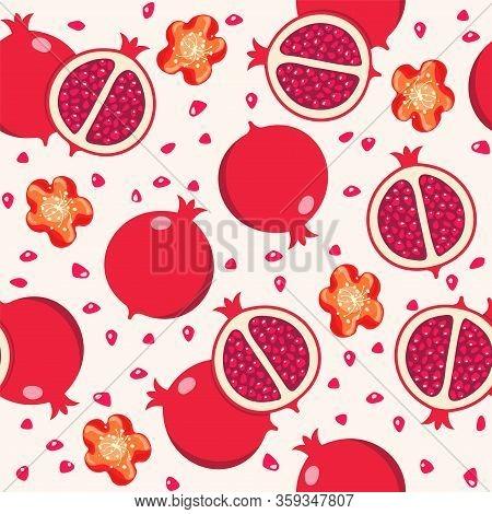 Vector Seamless Pomegranate Background Pattern With Whole And Cut Pomegranates And Pomegranate Flowe