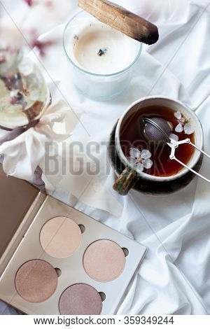 Romantic Composition With Green Handmade Tea Couple, Highlighter Palette, Vase With Apricot Brunch,