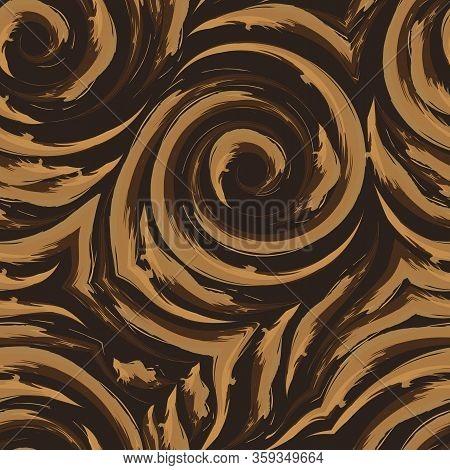 Vector Seamless Texture Of Spirals And Broken Lines Of Orange On A Dark Background. Imitation Of Wat