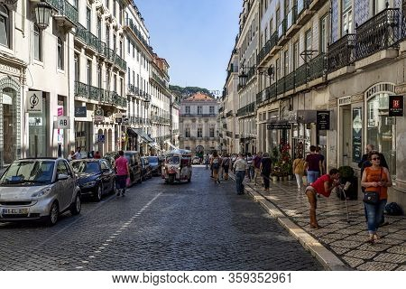 Lisbon - September 05, 2019: View Of The Busy Commercial Area Called Chiado, In Lisbon, Portugal