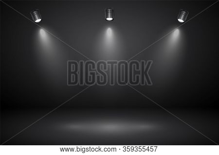 Empty Gray Studio Abstract Background With Spotlights. Product Showcase Backdrop.
