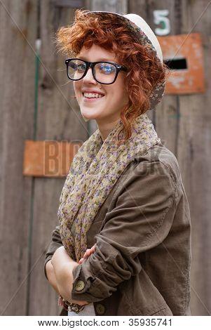 Lächelnd Hipster Girl