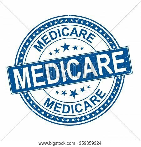 Blue Medicare Universal Healthcare Campaign Stamp Flat Vector Label For Print And Websites