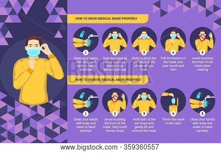 How To Wear And Remove Medical Mask Properly. Step By Step Infographic Illustration Of How To Wear A