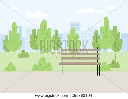 City Summer Spring Park Panorama With Green Trees, Bench, Walkway, Path, City Silhouette, . Town And