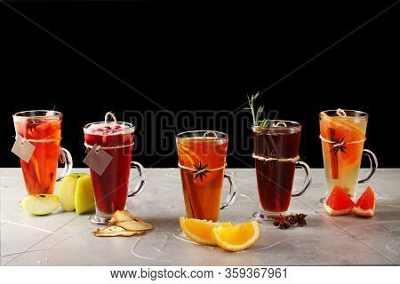 Set Of Tea In Mulled. Autumn Traditional Drinks, Set Punch And Mulled Wine On Christmas. Isolated On