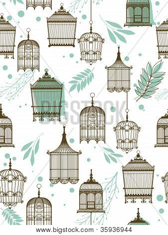 Pattern With Vintag Birdcages