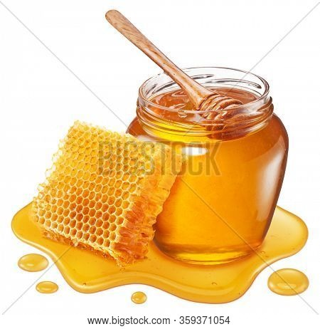Glass pot of honey, honeycombs and sweet sticky honey puddle isolated on white background.