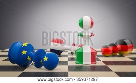 chess pawns with Italian, French German and European flag. concept of challenge and conflict. The exit of Italy marks the end of the European community. 3d render