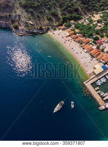 Bali beach coast line. The island Cres, Croatia. Adriatic.  September 2019