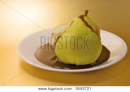 Sliced Pear With Chocolate