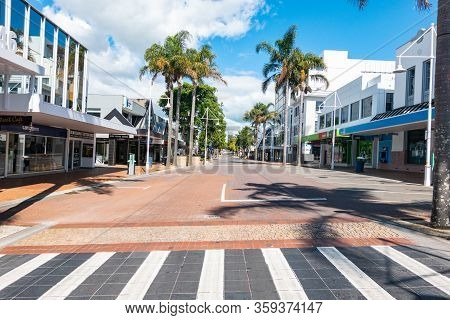 Tauranga New Zealand - April 4 2020: Tauranga Downtown Empty Streets And Buildings During Covid-19 S