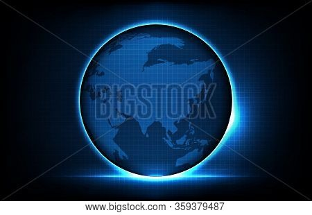 Abstract Background Of Futuristic Technology Glowing Digital Globe World Maps With, Hightech Screen