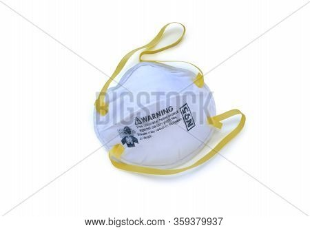 Respirator Mask Type N95 For Breathing Protection Isolated Over White Background.