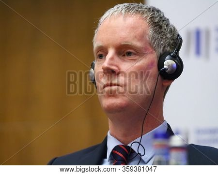 Bucharest, Romania - February 13, 2020: Andrew Mcdowell Vice President Of European Investment Bank A