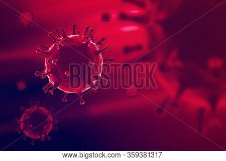 3d Rendering Corona Virus , Covid-19 Microscopic Virus Corona Virus Disease.3d Rendering.