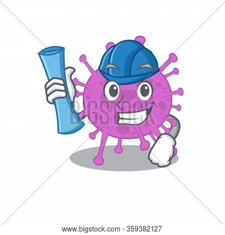 Cartoon Character Of Avian Coronavirus Brainy Architect With Blue Prints And Blue Helmet