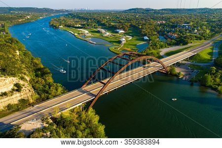 Aerial Drone Views Above Pennybacker Bridge Or 360 Bridge In The Texas Hill Country Right Outside Of