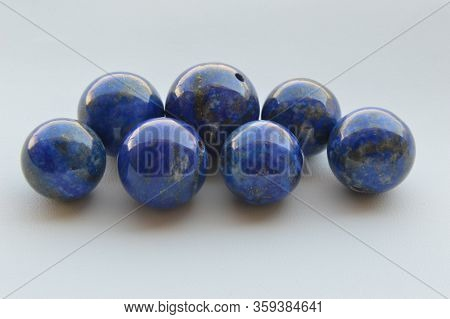 Lapis Lazuli Natural Blue Color Beads With Drilled Hole, Deep Blue Color With Pyrite Inclusion, Loca