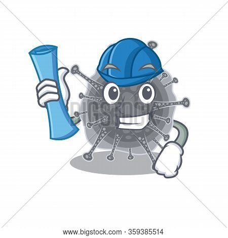 Cartoon Character Of Articulavirales Brainy Architect With Blue Prints And Blue Helmet