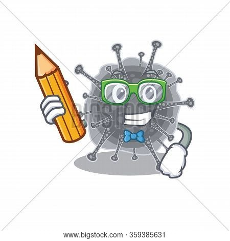 A Brainy Student Articulavirales Cartoon Character With Pencil And Glasses