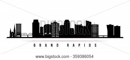 Grand Rapids Skyline Horizontal Banner. Black And White Silhouette Of Grand Rapids, Michigan. Vector