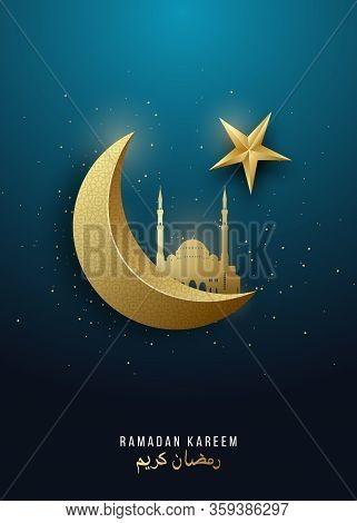 Ramadan Kareem. 3d Gold Crescent Moon, Star And Mosque On Gradient Green Background. Vector Design F