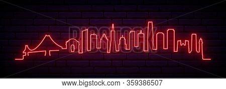 Red Neon Skyline Of San Francisco City. Bright San Francisco Long Banner. Vector Illustration.