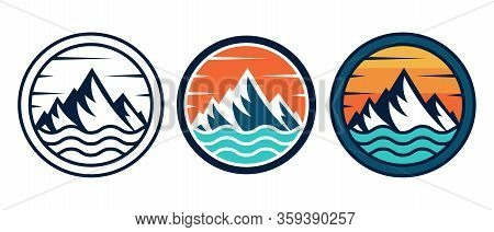Mountains. Mountain logo vector. Mountain icon vector. Mountain icon. Mountains logo. Mountain logo template. Mountains logo design. Mountains emblem logo. Set Of Mountains logo vector illustration for Outdoor Adventure.