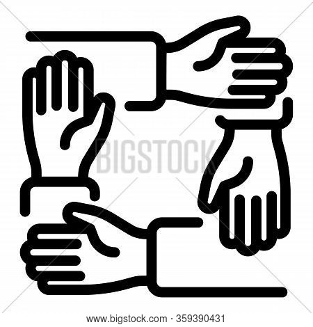 Teamwork Handshake Icon. Outline Teamwork Handshake Vector Icon For Web Design Isolated On White Bac