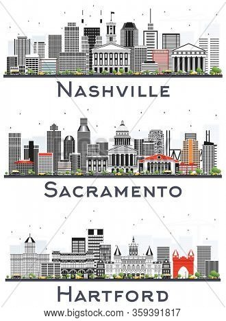 Nashville Tennessee, Hartford Connecticut and Sacramento California City Skylines with Gray Buildings Isolated on White. Business Travel and Tourism Concept with Modern Architecture. USA Cityscapes.