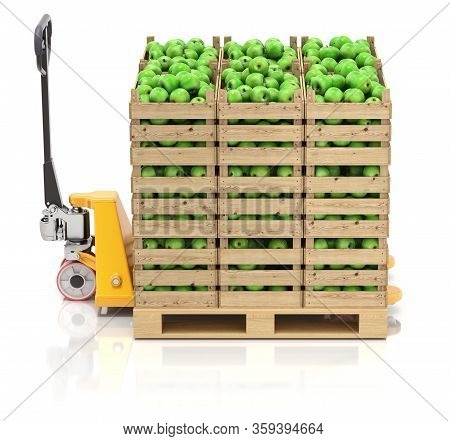 Green Apples In Wooden Crates And Pallet Jack On White Background - 3d Illustration