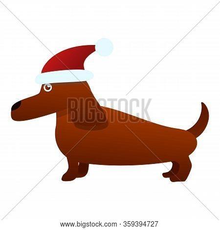 Dachshund Santa Hat Icon. Cartoon Of Dachshund Santa Hat Vector Icon For Web Design Isolated On Whit