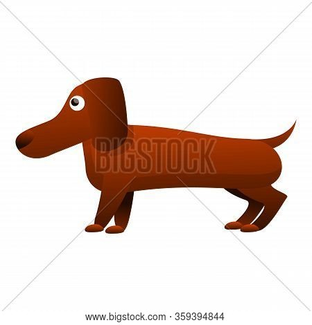 Canine Dachshund Icon. Cartoon Of Canine Dachshund Vector Icon For Web Design Isolated On White Back
