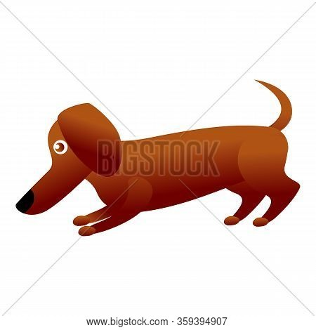 Dachshund Playing Icon. Cartoon Of Dachshund Playing Vector Icon For Web Design Isolated On White Ba