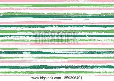Pain Thin Parallel Lines Vector Seamless Pattern. Distressed Linen Fabric Print Design. Vintage Geom