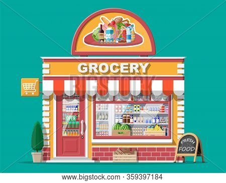 Grocery Store Front With Window And Door. Wooden And Brick Facade. Glass Showcase Of Boutique. Small