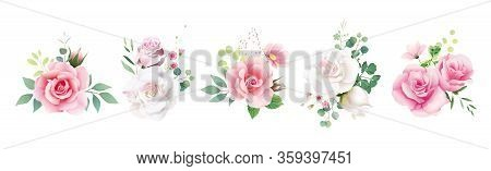 Floral Romanric Bouquets For Wedding Invite Or Greeting Card. White Pink Peach Rose And Flower, Gree