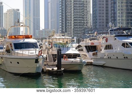 Marina For Private Yachts In The City Center. Private Luxury Yachts Moored In The City Marina Of An